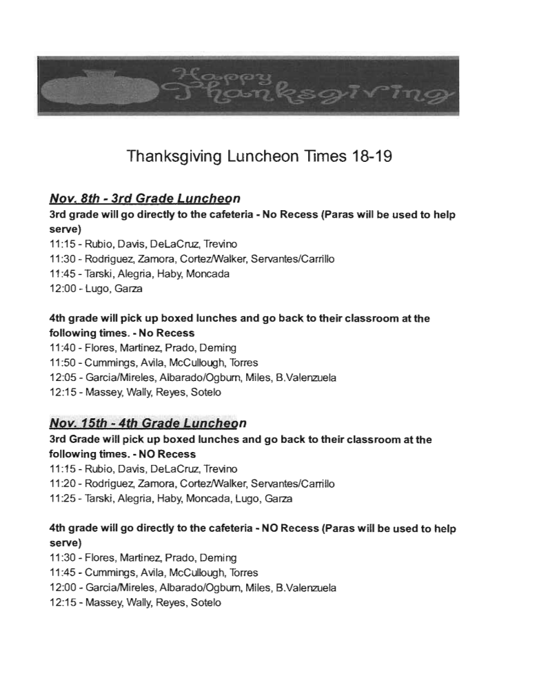 Robb Thanksgiving Luncheon Schedule