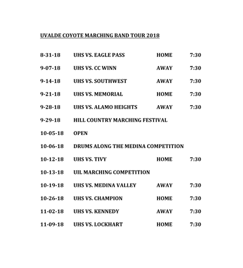 Marching Band Tour