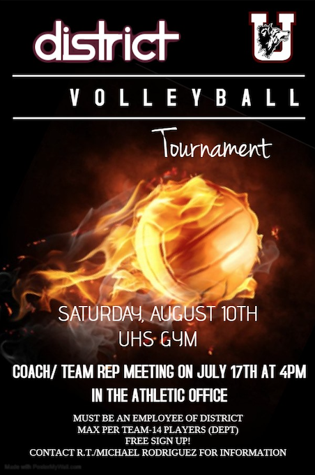 District Volleyball Tournament...August 10th! Sign Up on July 17th at 4pm in the Athletic Office!