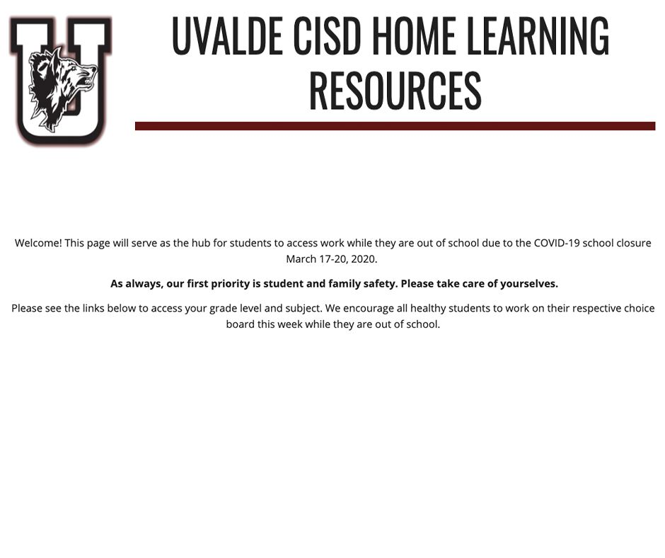 UVALDE CISD HOME LEARNING RESOURCES