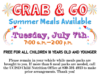 UCISD July Grab & Go Summer Meals