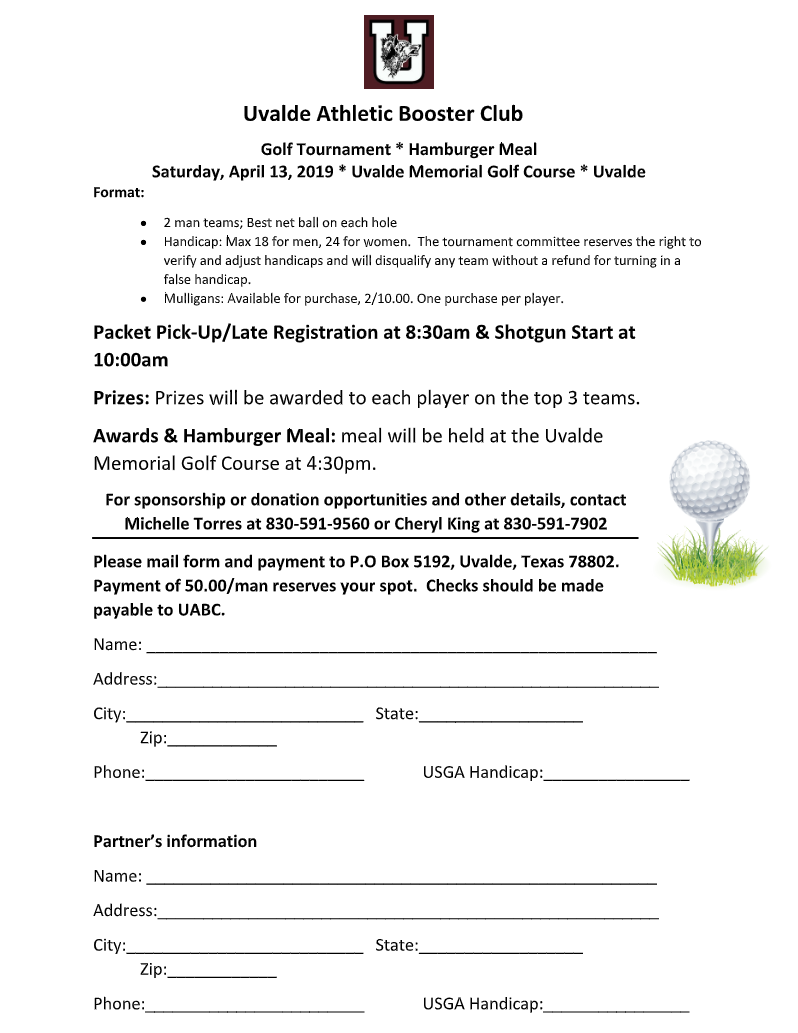 Uvalde Athletic Booster Club Golf Tournament