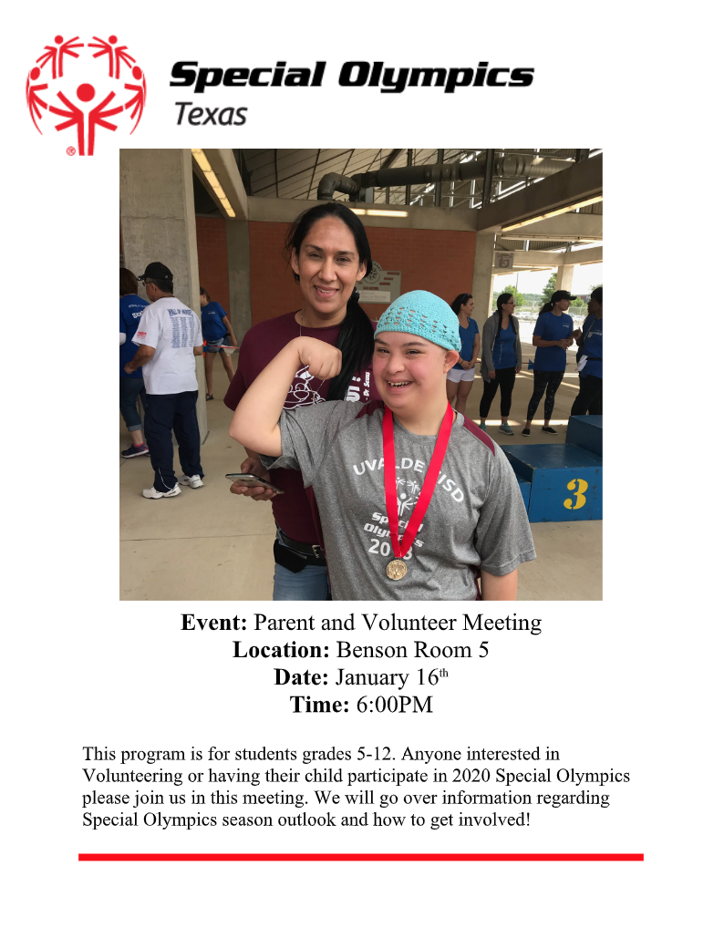 Special Olympics Parent Meeting...January 16th!