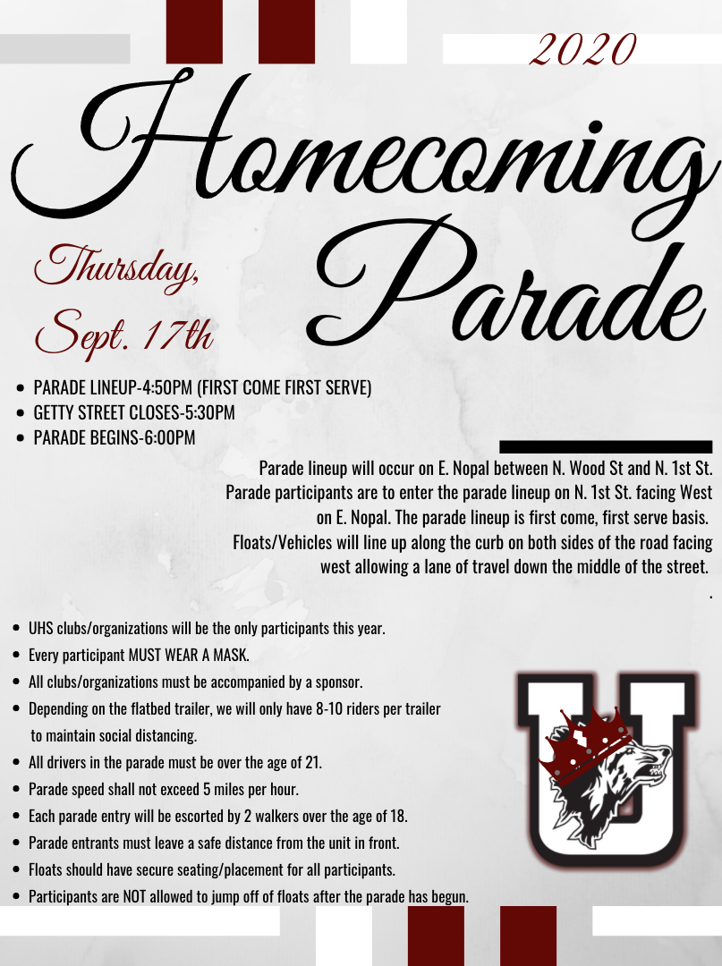 2020 Homecoming Parade Information