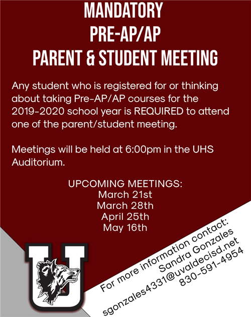 Mandatory Pre-AP/AP Parent & Student Meeting