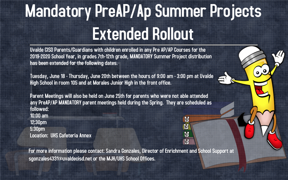Pre Ap/Ap Summer Projects Extended Rollout