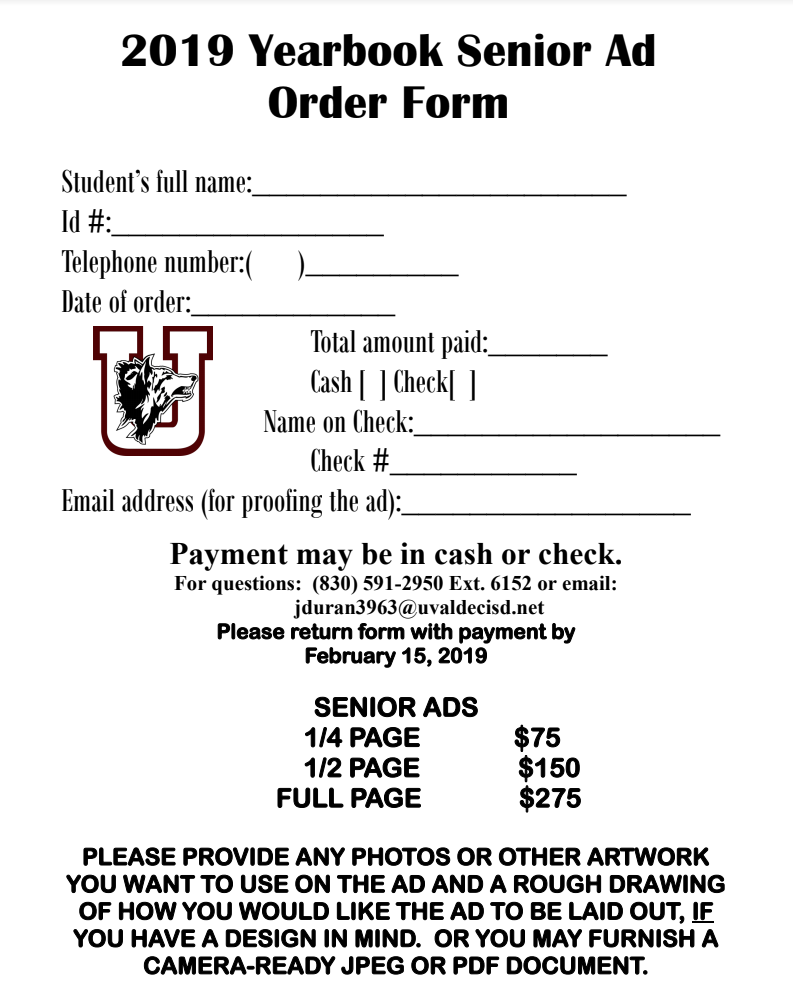 UHS SENIORS: Time is running out to order an ad in the expanded 2019 yearbook! Go by Room 311 to order an ad!