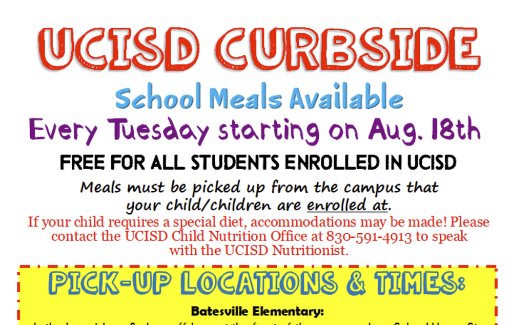 UCISD Curbside School Meals will be Available Every Tuesday Beginning August 18th!