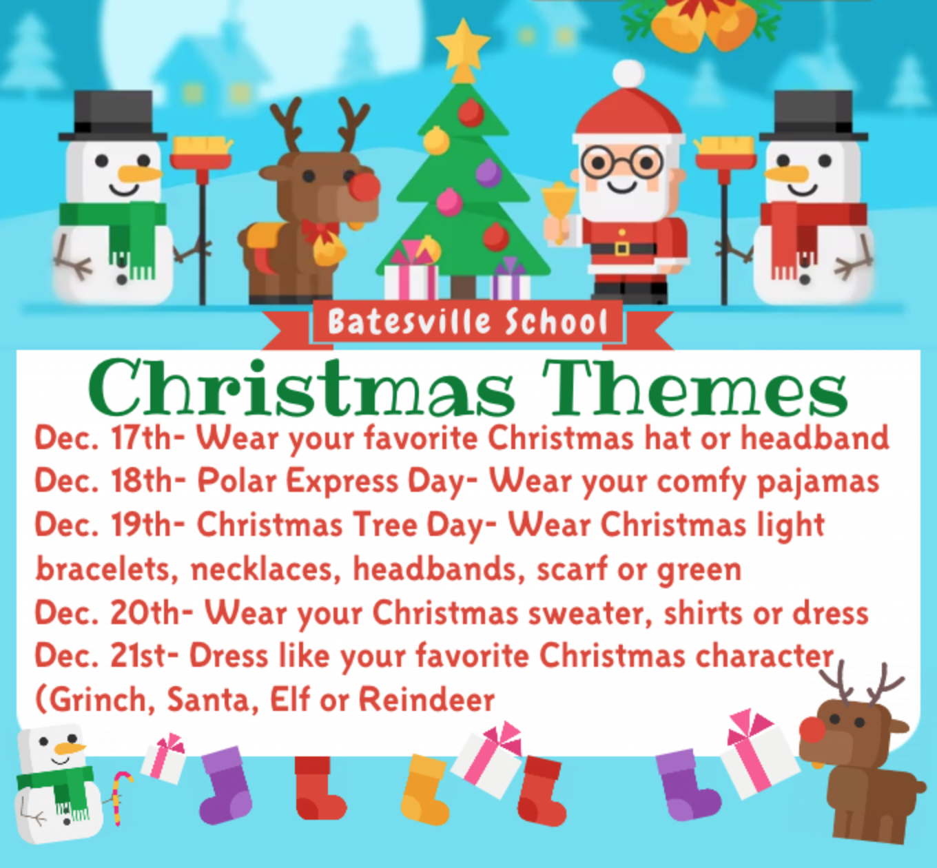Batesville School Christmas Theme Week...Dec. 17th-21st!