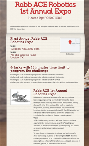 Robb ACE Robotics Expo