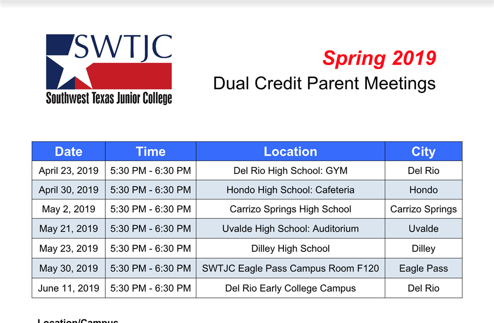 Dual Credit Parent Meeting Spring 2019