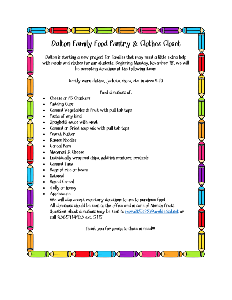dalton family food pantry