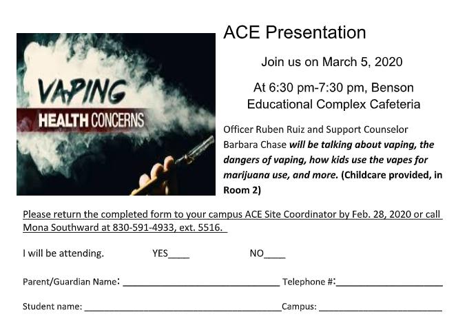 ACE Presentation: Vaping Concerns..March 5th!