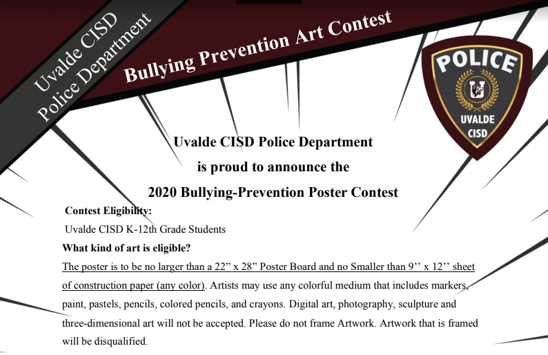Bullying Prevention Art Contest...Deadline November 2, 2020