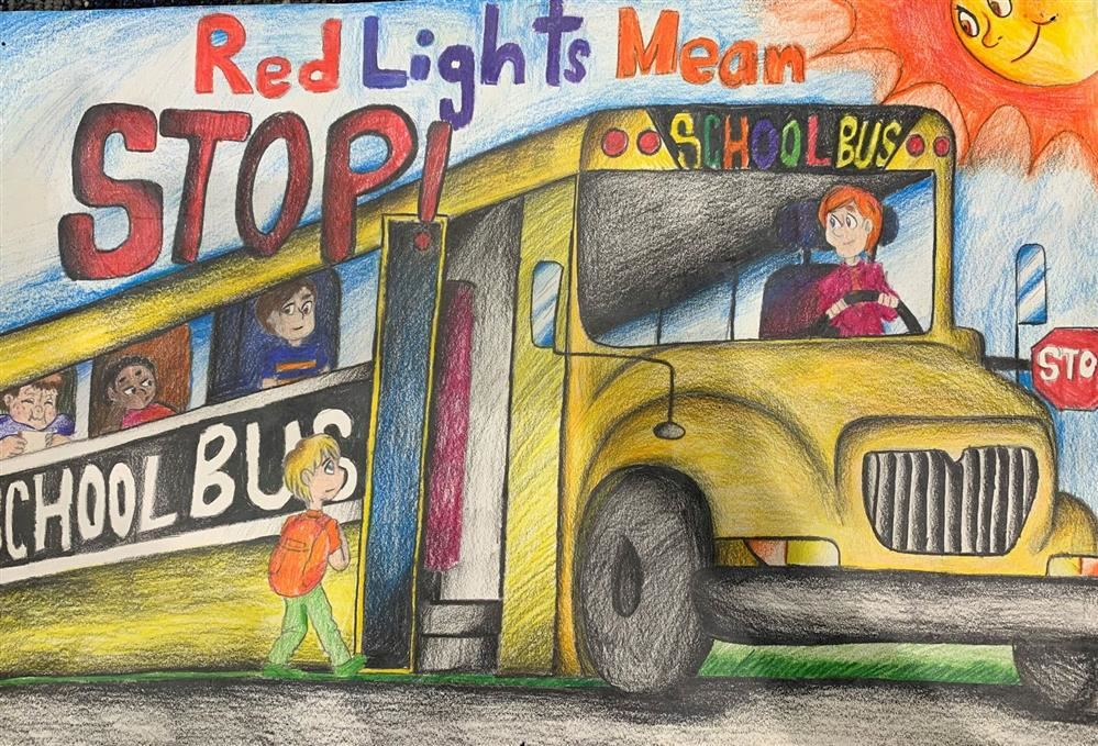 "2020 National School Bus Safety Week: October 19-23, 2020 and the theme is ""Red Lights Mean STOP!"""