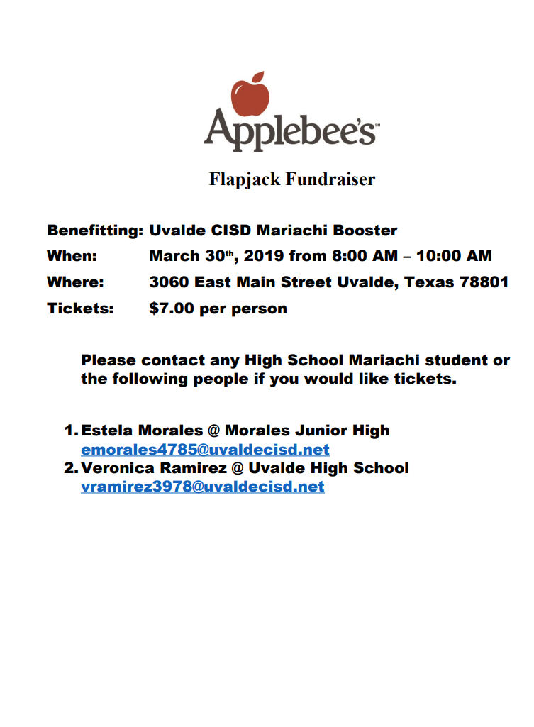 UHS Mariachi Flapjack Fundraiser...March 30th!