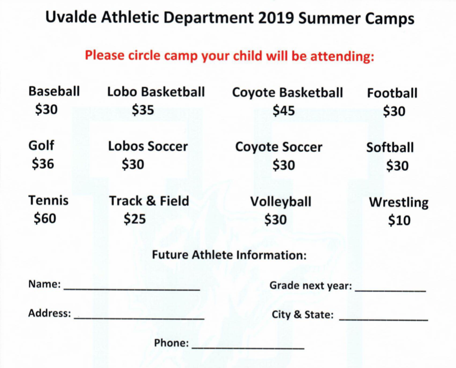 2019 Athletic Summer Camps