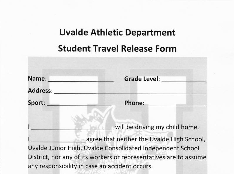 Student Travel Release Form