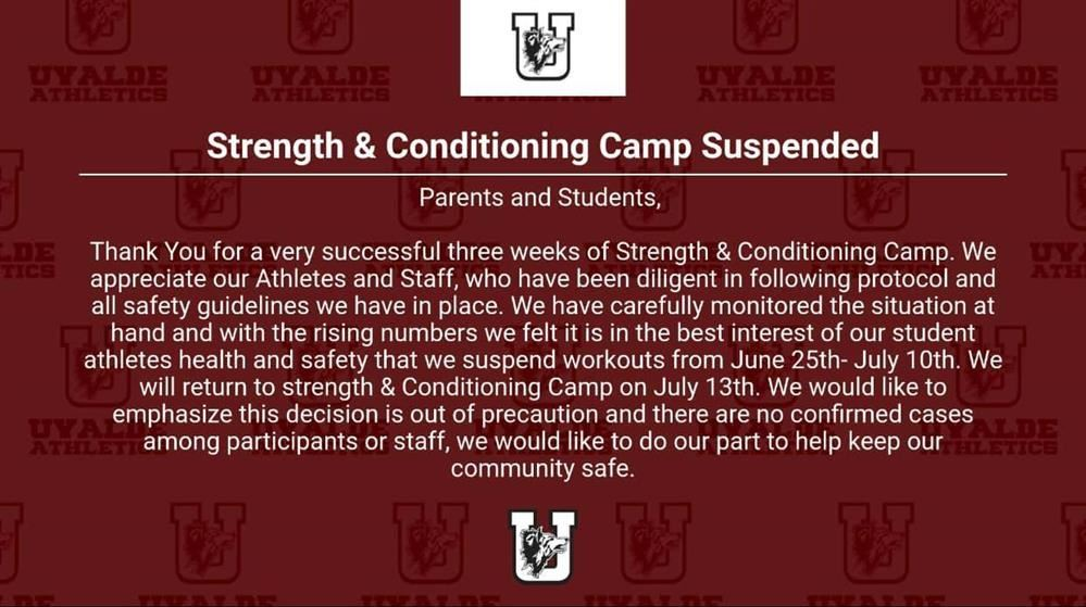 Strength & Conditioning Camp Suspended