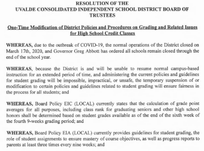 One-Time Modification of District Policies and Procedures on Grading and Related Issues  for High School Credit Classes
