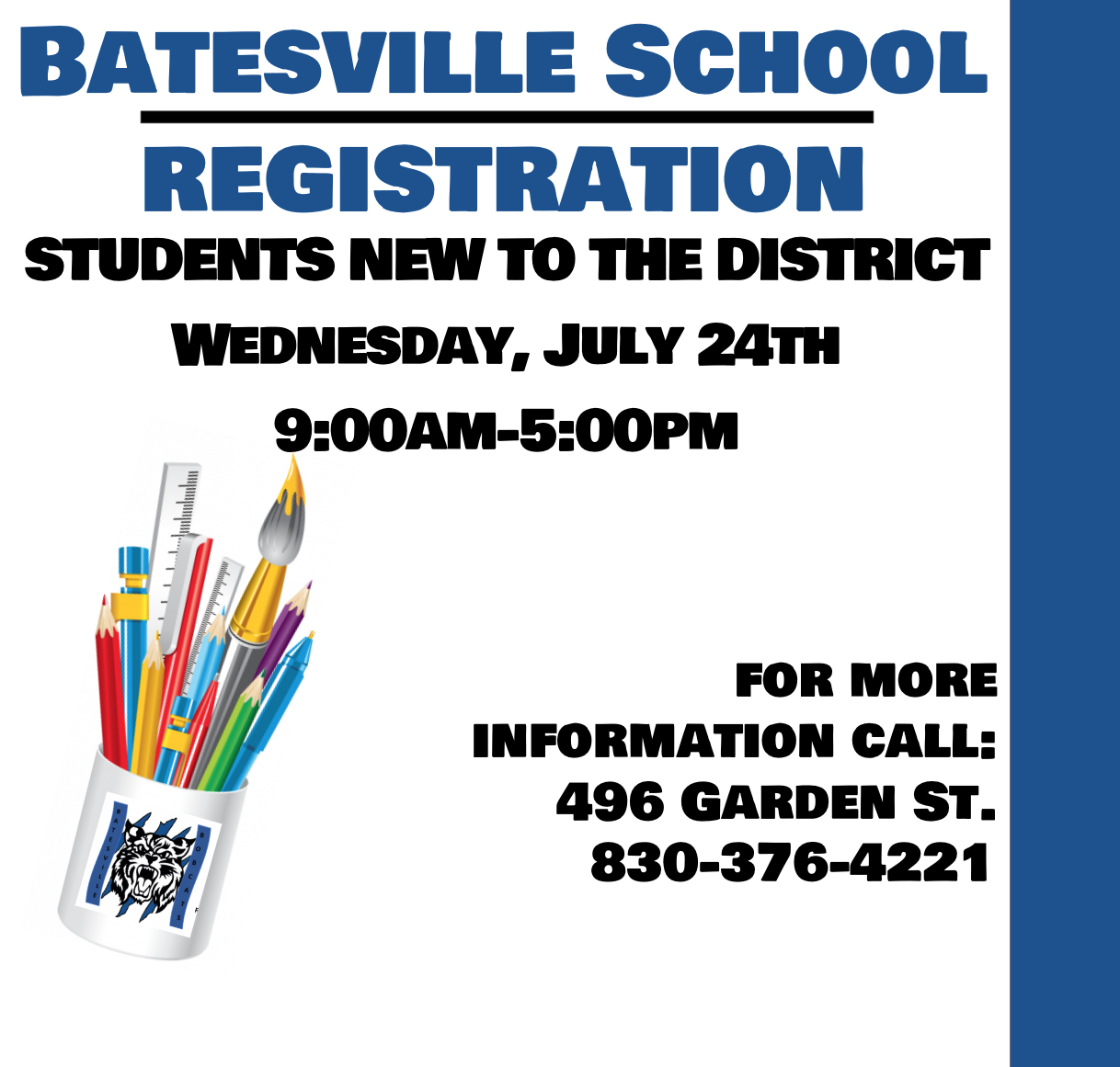 Batesville School Registration for Students New to the District!